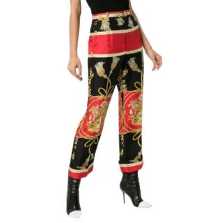 Gucci Silk Pants with Tassels & Flowers