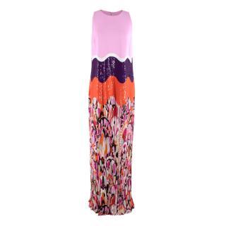 Emilio Pucci Crepe Sequin Pleated Hem Column Gown