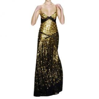 Donna Karan Black & Gold Sequin & Feather Embroidered Gown