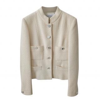 Chanel Vintage Ecru Tweed Classic Four Pocket Jacket