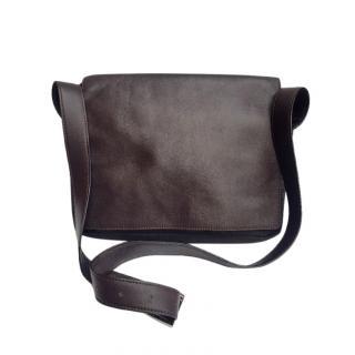 Celine vintage brown leather & canvas shoulder bag