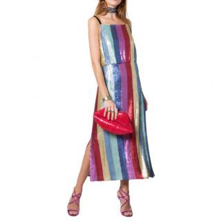 RIXO Tessa Multi Stripe Sequin Midi Dress