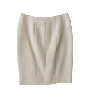 Chanel Vintage Ecru Tweed Skirt