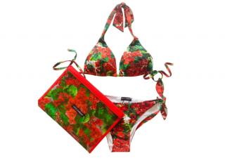 Dolce & Gabbana Geranium Print Halterneck Bikini