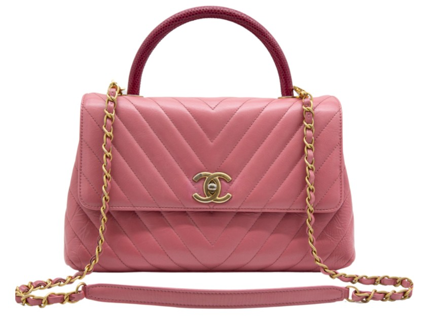 Chanel Chevron Calfskin Pink Lizard Top Handle Flap Bag