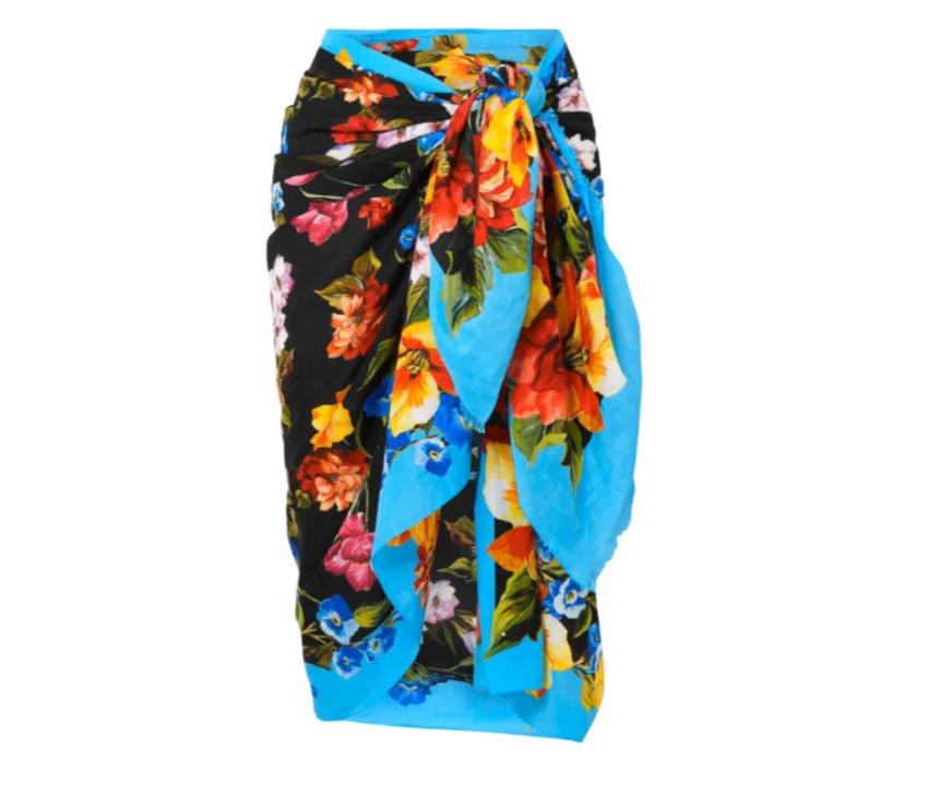 Dolce & Gabbana Blue Floral Print Pareo