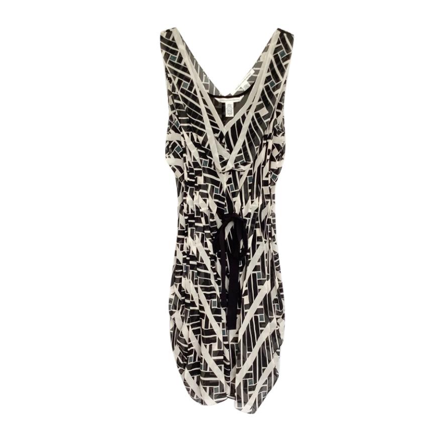 Diane Von Furstenberg Black, White & Grey Silk Chiffon Layered Dress
