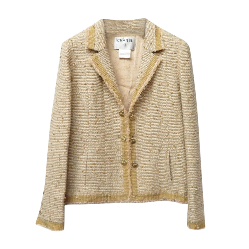 Chanel golden beige fantasy tweed embellished jacket