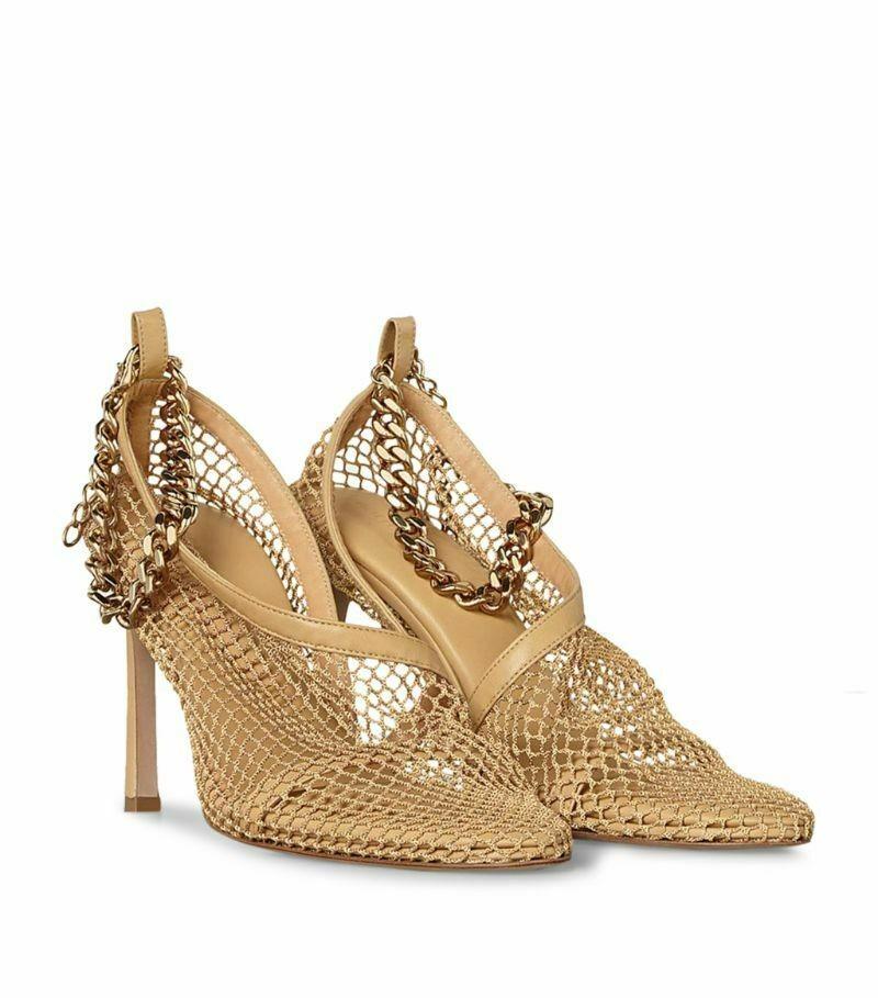 Bottega Veneta Chain-Embellished Mesh Sandals 90