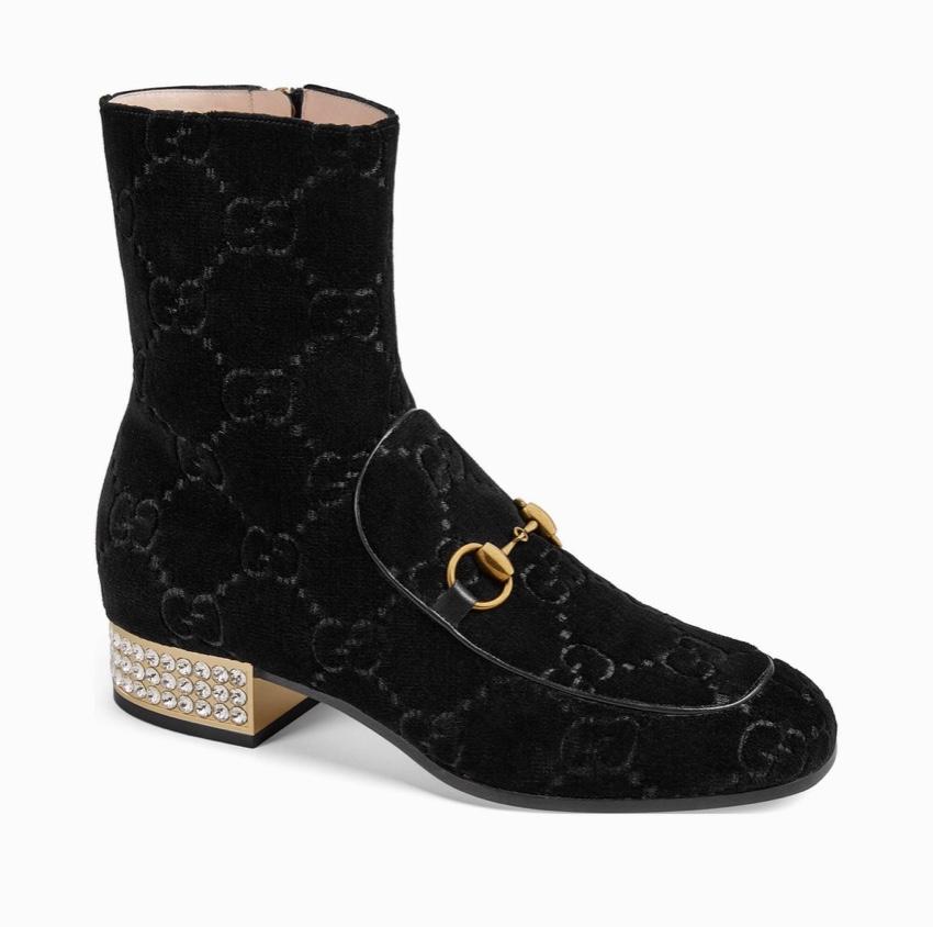 Gucci Supreme Velvet Crystal Embellished Horsebit Boots