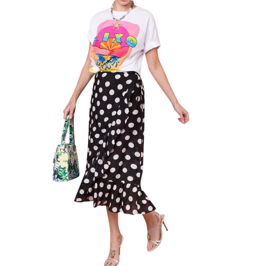 RIXO Gracie Polka Dot Midi Wrap Skirt