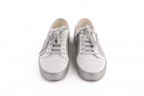 Chanel White/Silver CC Cap Toe Sneakers