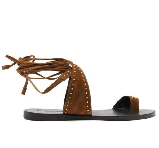 Saint Laurent Gia Studded Flat Wrap Sandals