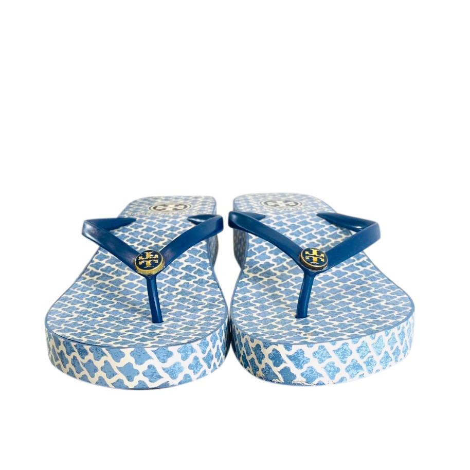 Tory Burch Blue Wedge Flip Flops