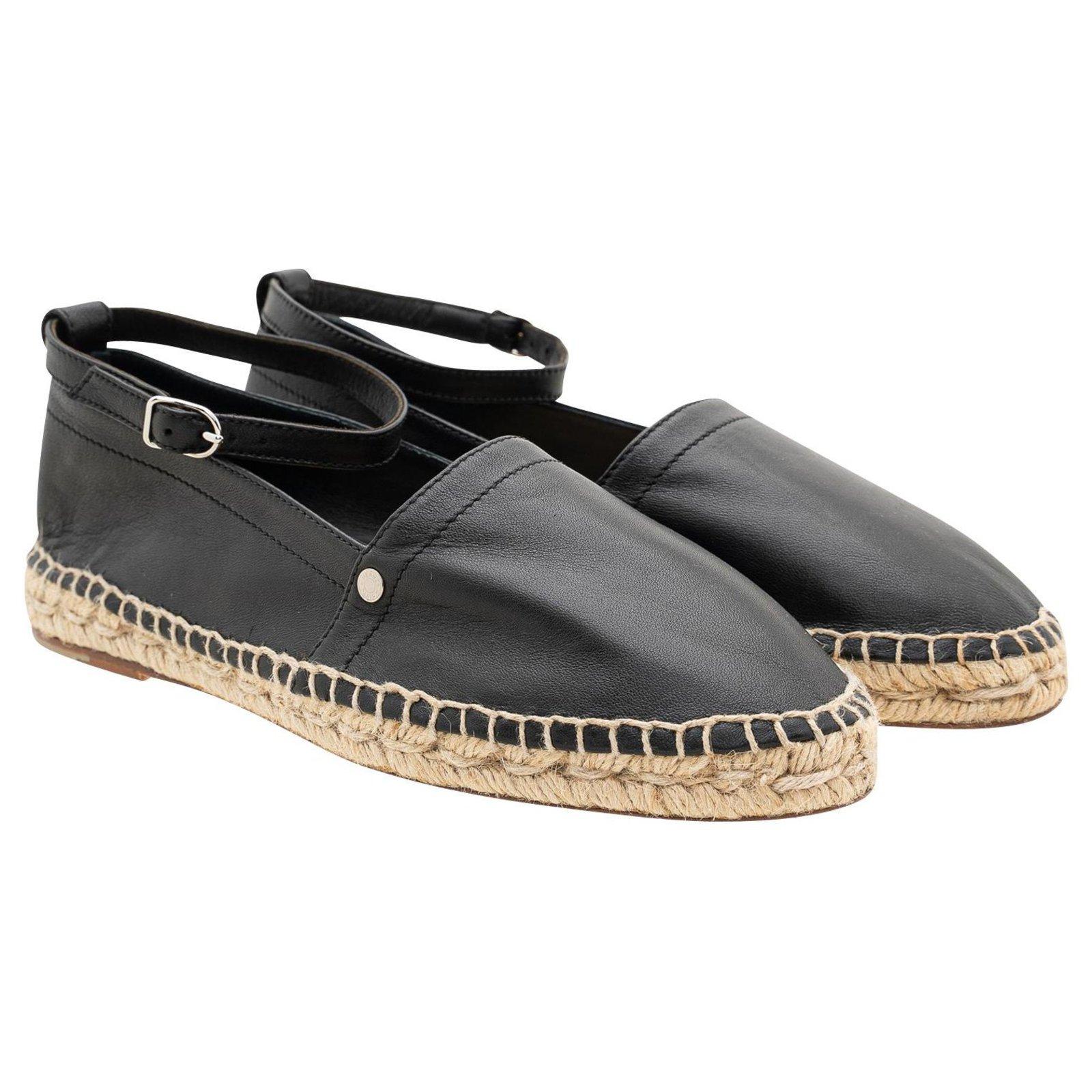 Hermes Black Leather Ankle Strap Espadrilles