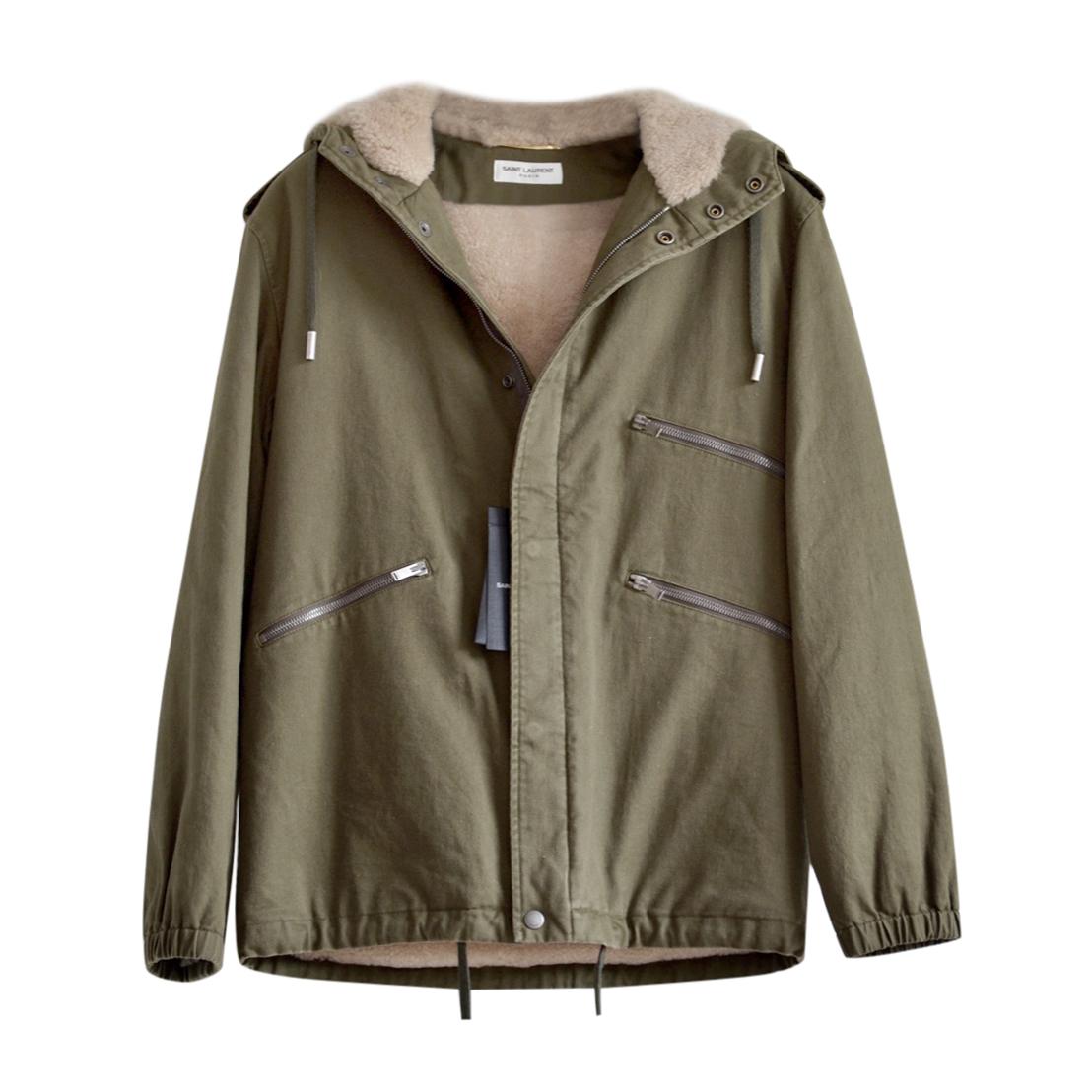 Saint Laurent Khaki Hooded Shearling Lined Gabardine Jacket