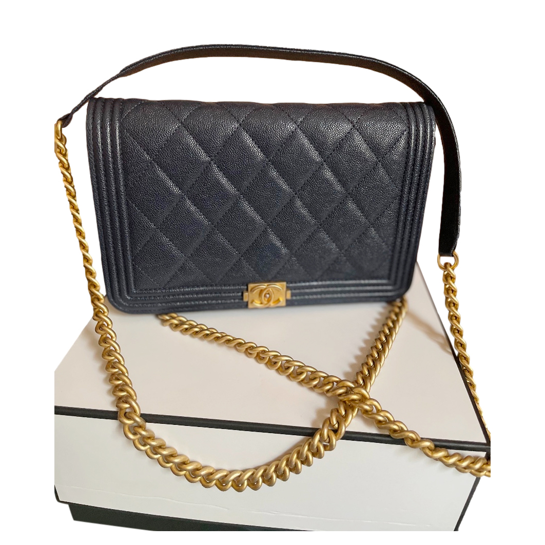 Chanel Navy Blue Caviar Leather Boy Wallet on Chain