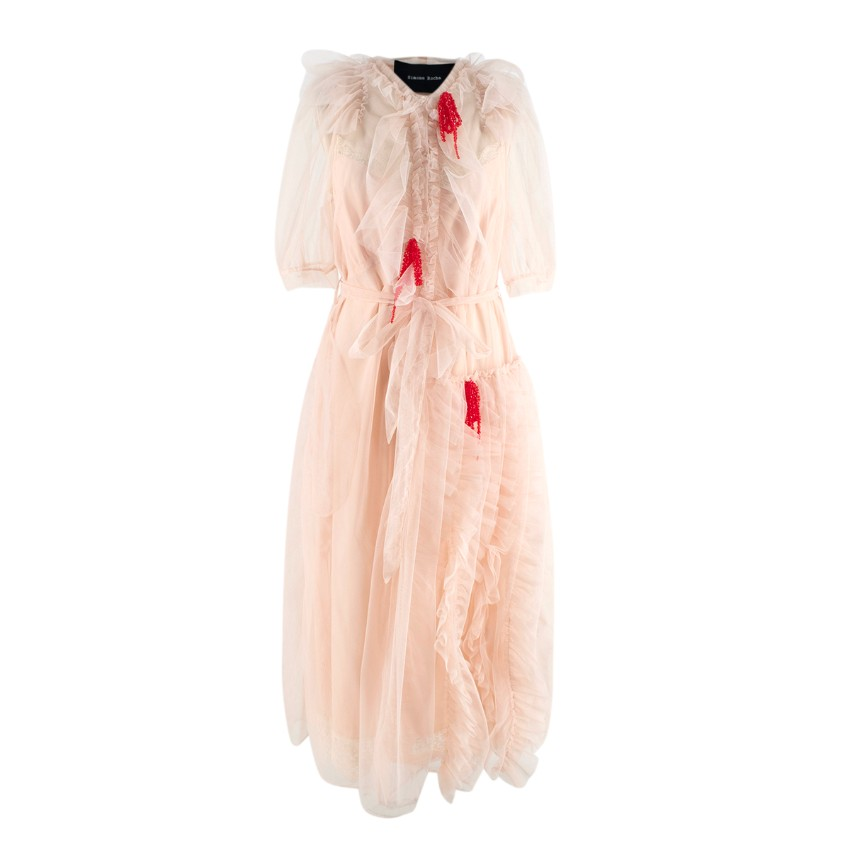 Simone Rocha Nude Ruffled Tulle Midi Dress