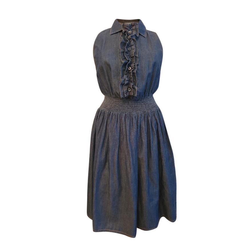 Prada Ruffle Front Sleeveless Denim Dress