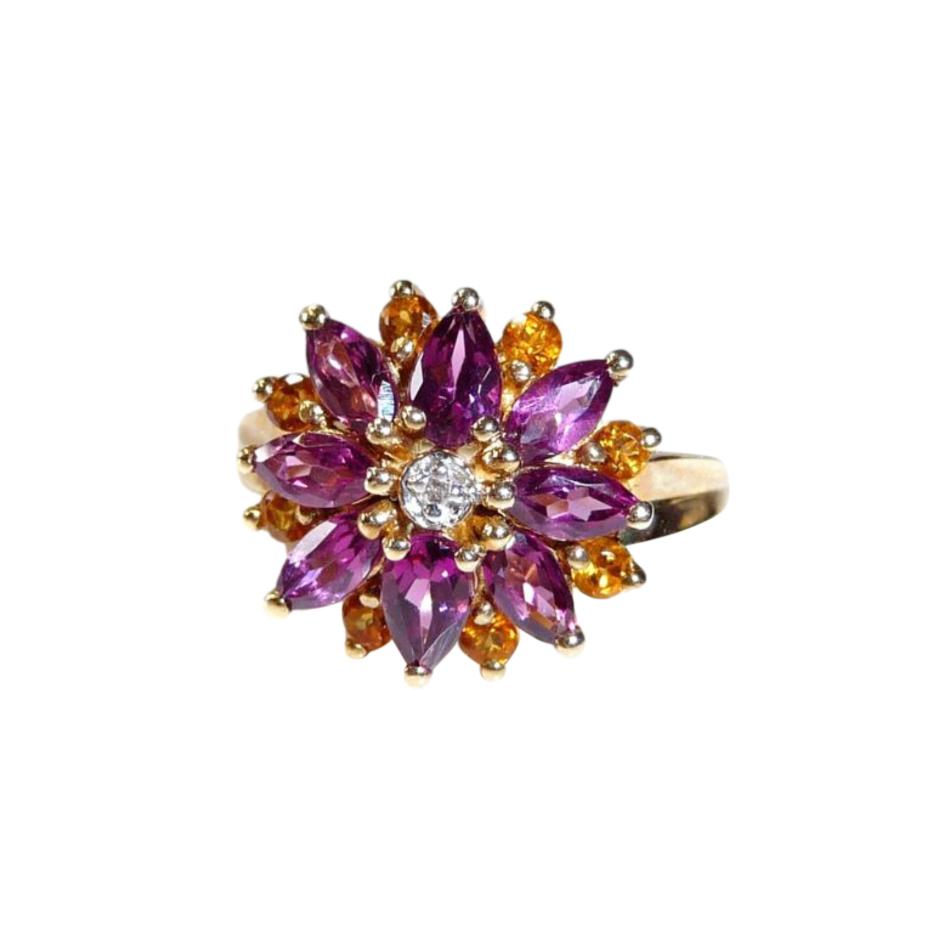 Bespoke Diamond, Amethyst & Citrine Gold Flower Ring