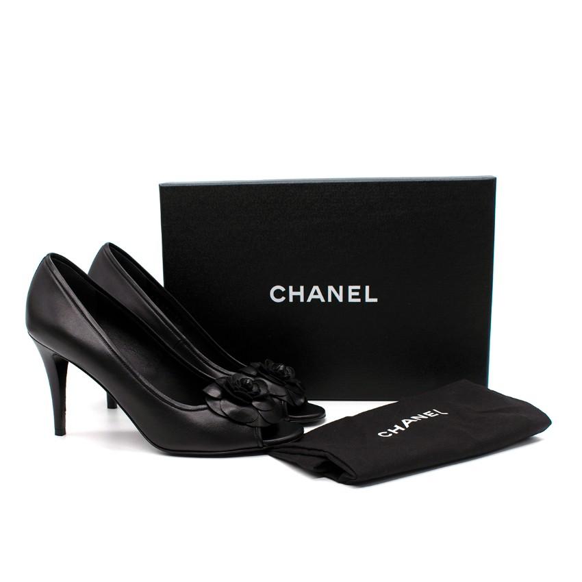 Chanel Black Leather Camellia Applique Pumps