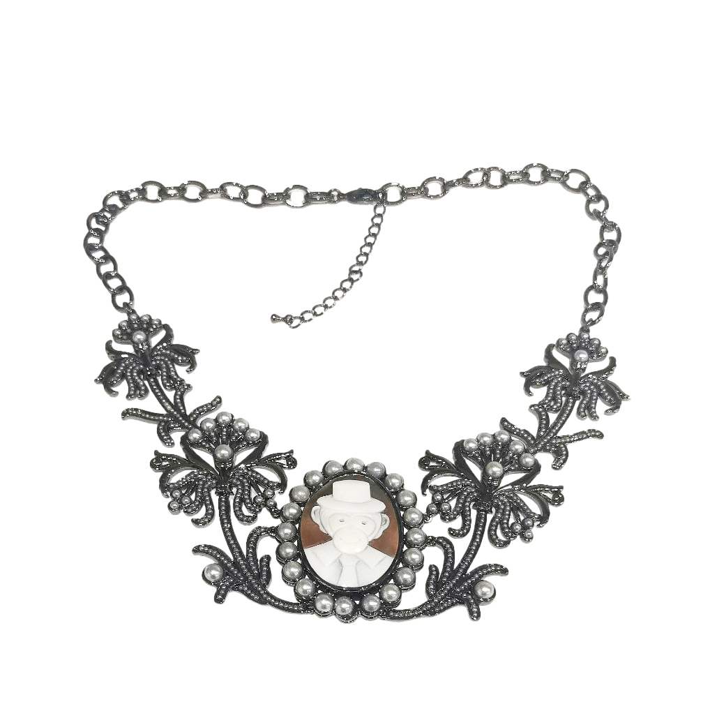 Amedeo faux pearl & crystal monkey necklace