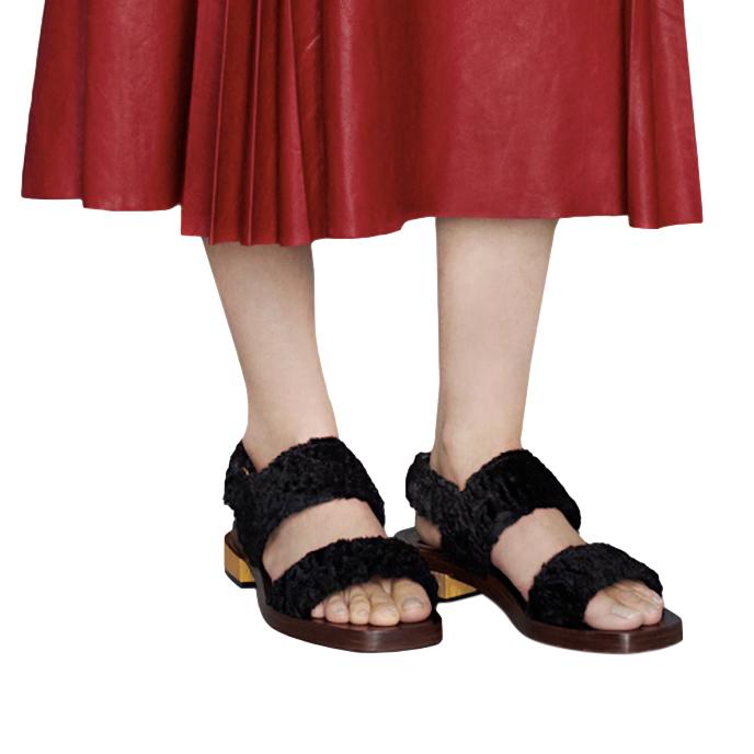 Gucci Ouverture Black Velvet Flat Sandals