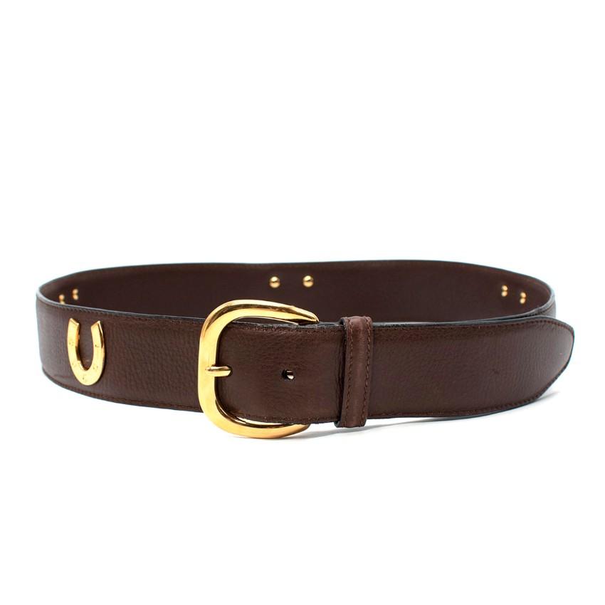 Gucci VIntage Horse Shoe Applique Brown Leather Belt - Size 85