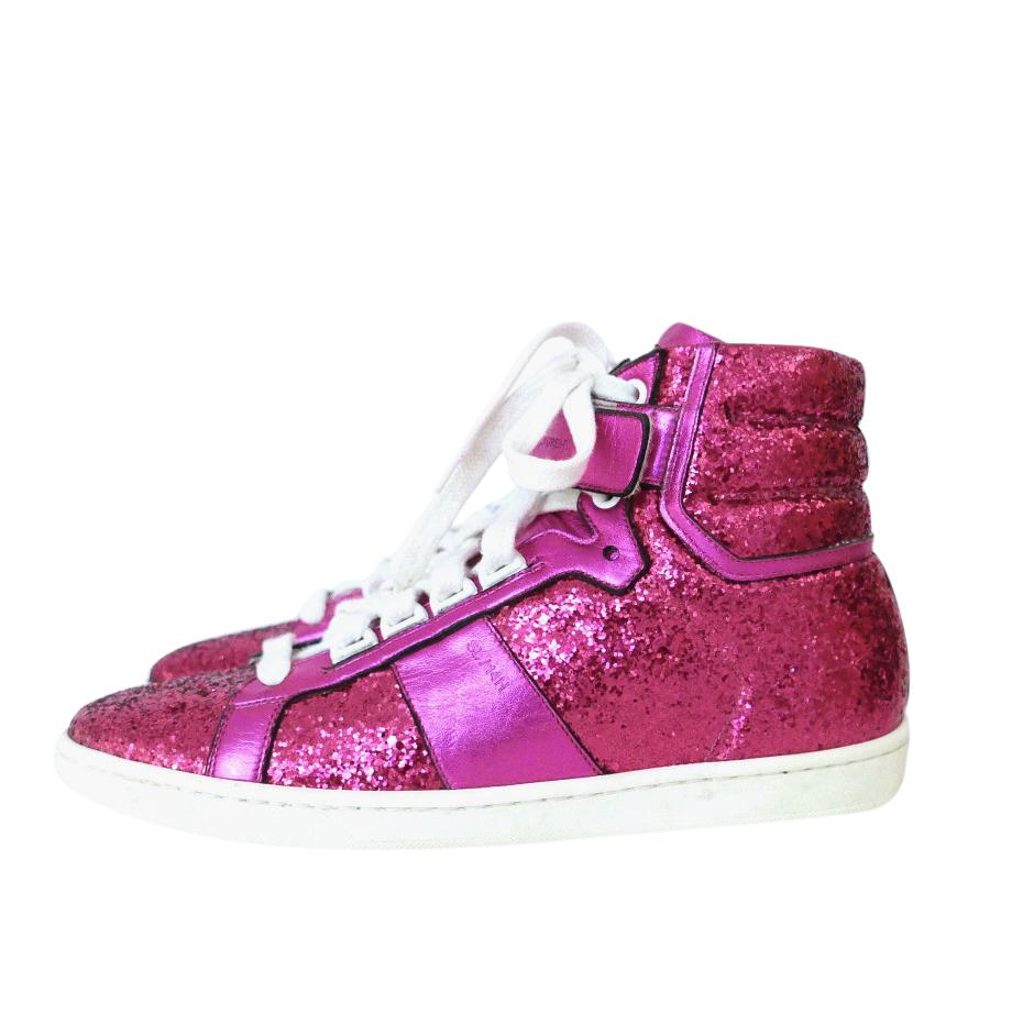 Saint Laurent hot pink glitter high top trainers