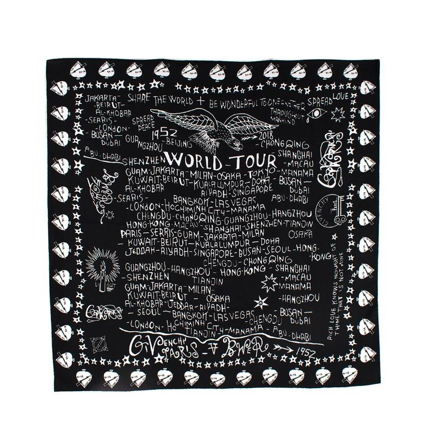 Givenchy Black & White Silk World Tour Scarf