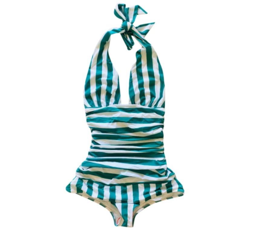 Dolce & Gabbana Green & White Striped Halterneck Swimsuit