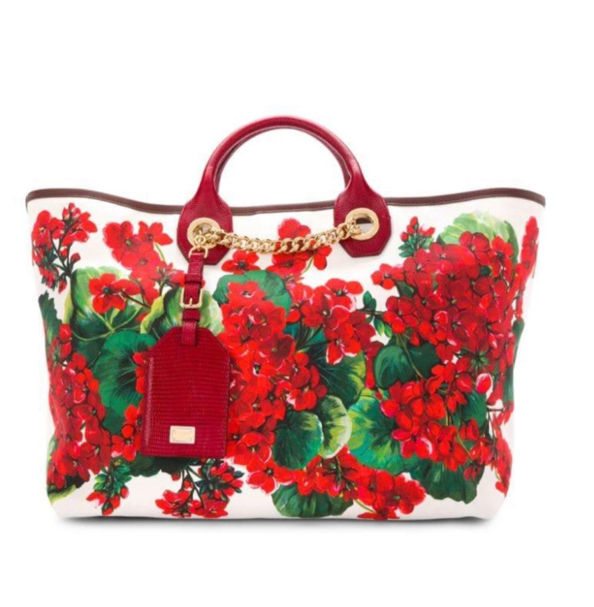 Dolce & Gabbana Geranium Print Capri Tote