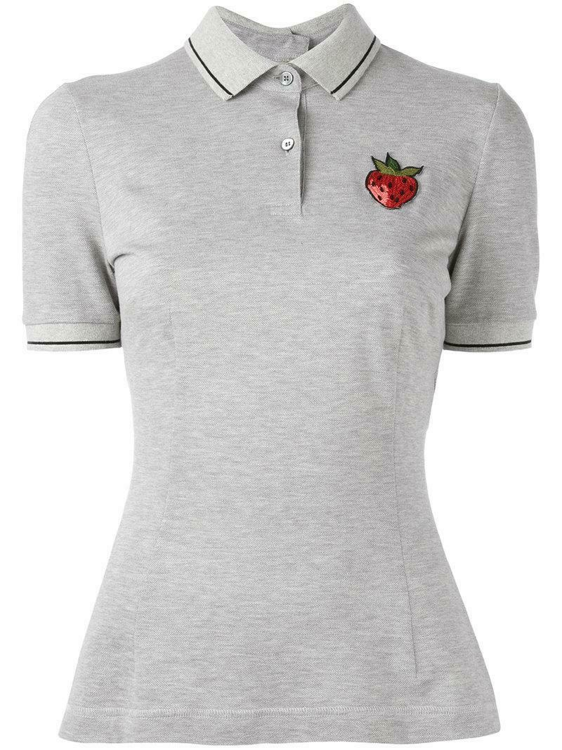 Dolce & Gabbana Strawberry Patch Grey Polo Shirt
