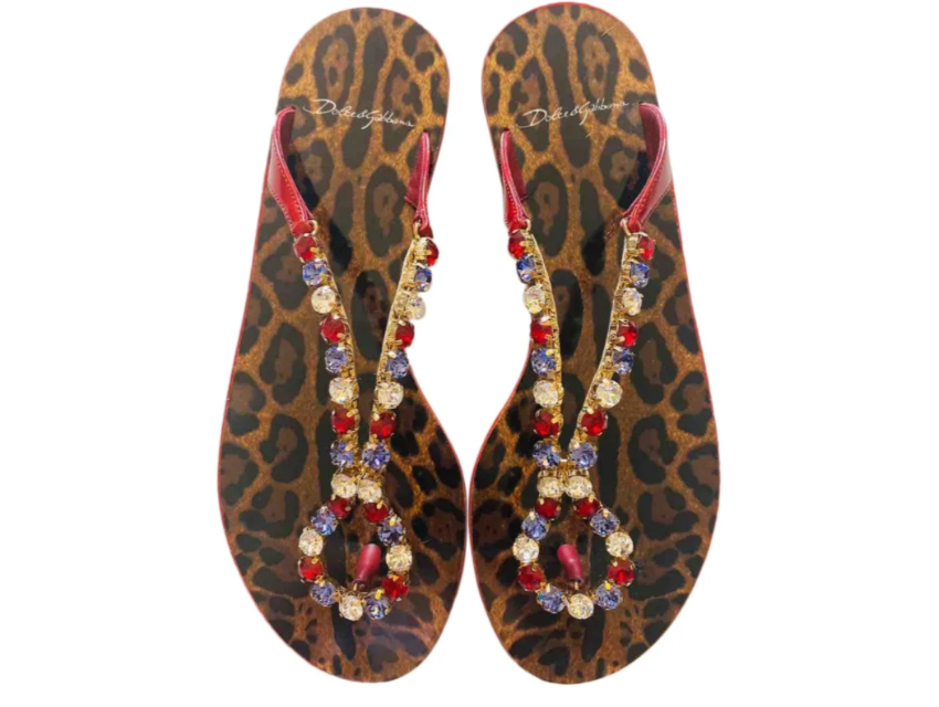 Dolce & Gabbana Crystal Leopard Thong Sandals