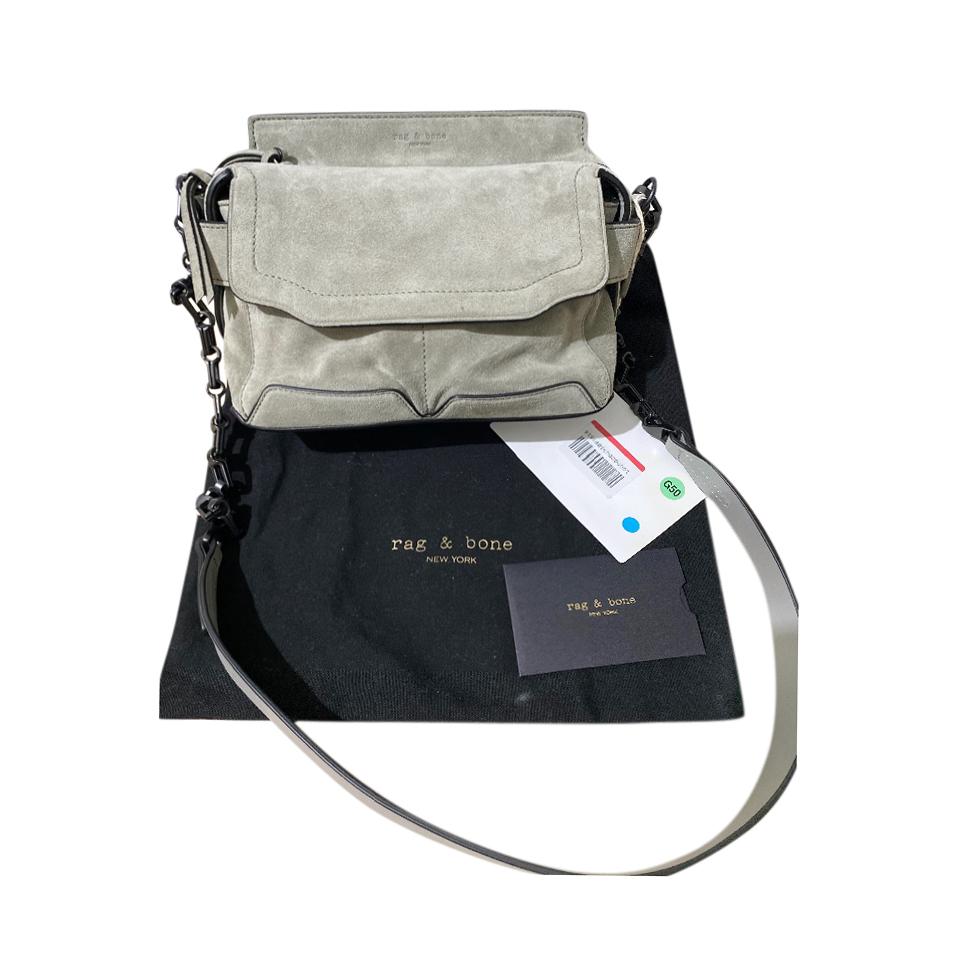 Rag & Bone Grey Suede Chain Embellished Shoulder Bag