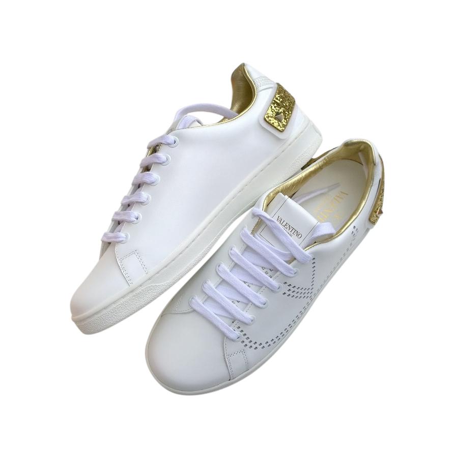 Valentino Garavani Gold Glitter Embellished White Sneakers