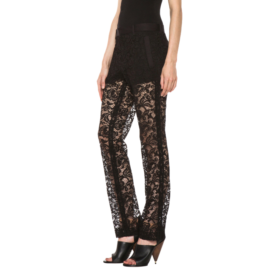 Givenchy Black Semi-Sheer Lace Pants