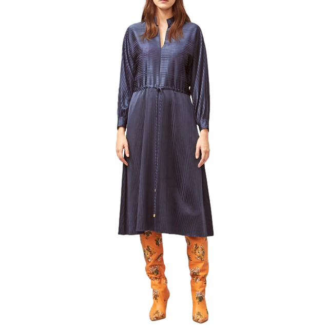 Tory Burch Navy Striped Silk Dress