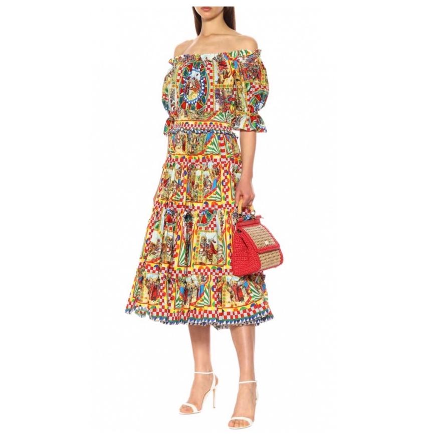 Dolce & Gabbana Carretti Sicily Print Off-Shoulder Dress