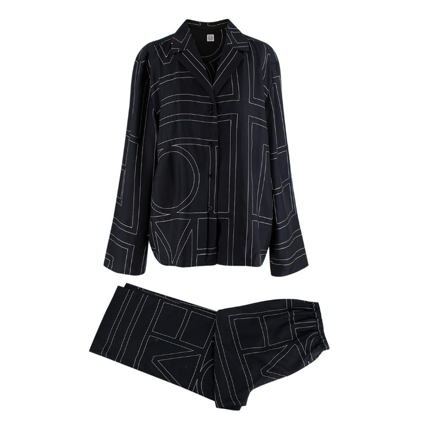 Toteme Black Monogram Silk Pyjama Pant Suit