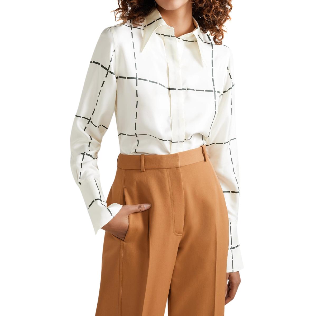 Victoria Beckham runway ivory silk twill blouse