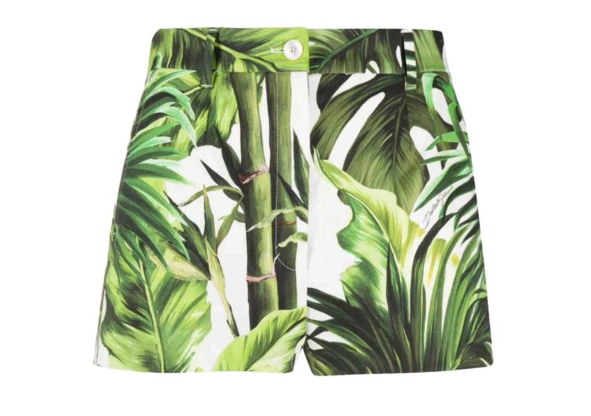 Dolce & Gabbana Tropical Green & White Cotton Shorts