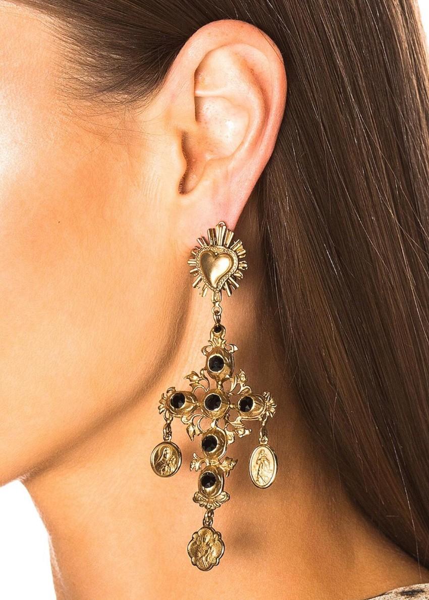 Dolce & Gabbana Gold & Black Crystal Cross Drop Earrings