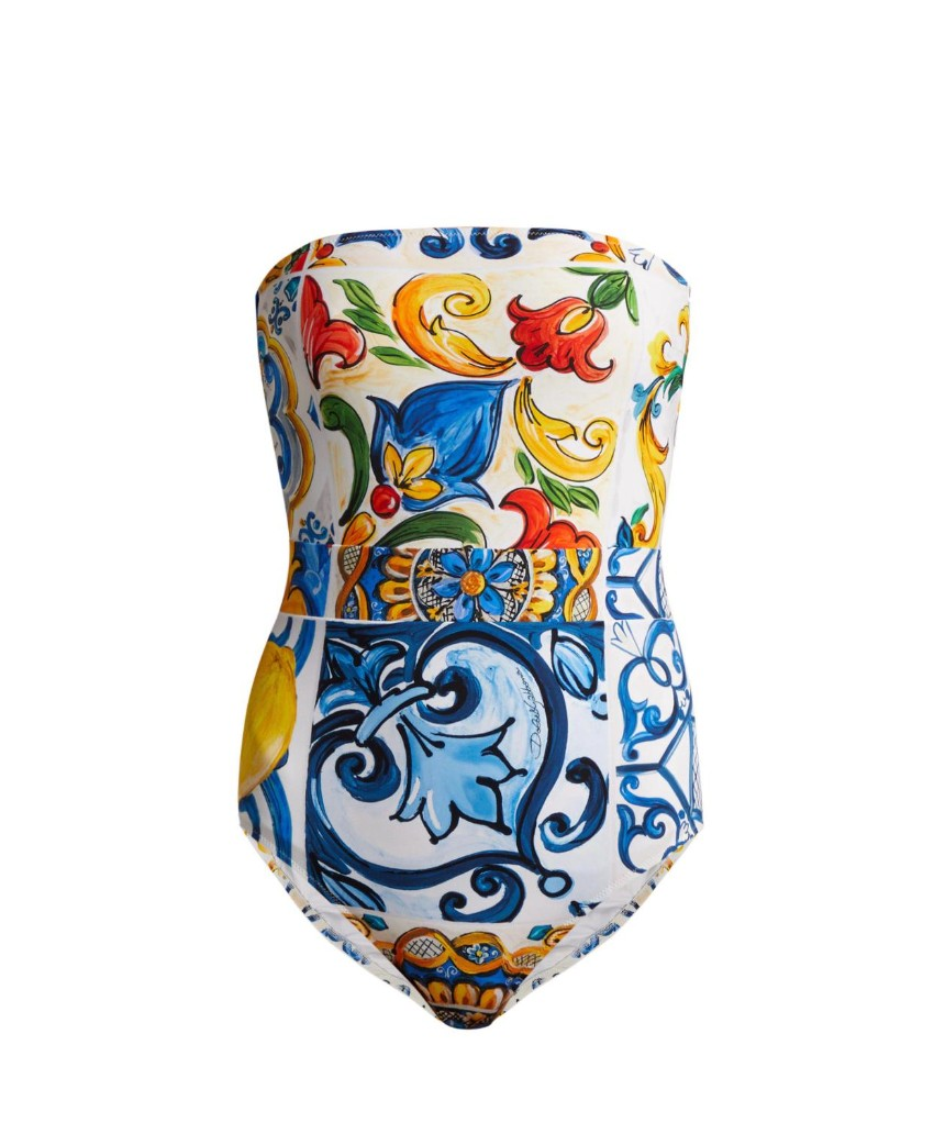 Dolce & Gabbana Majolica Print Strapless Swimsuit