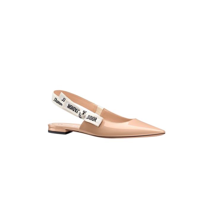 Dior Patent Beige J'Adior Slingback Flat Sandals