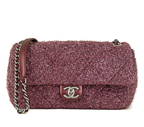 Chanel Pink Lurex Wool Classic Flap Bag