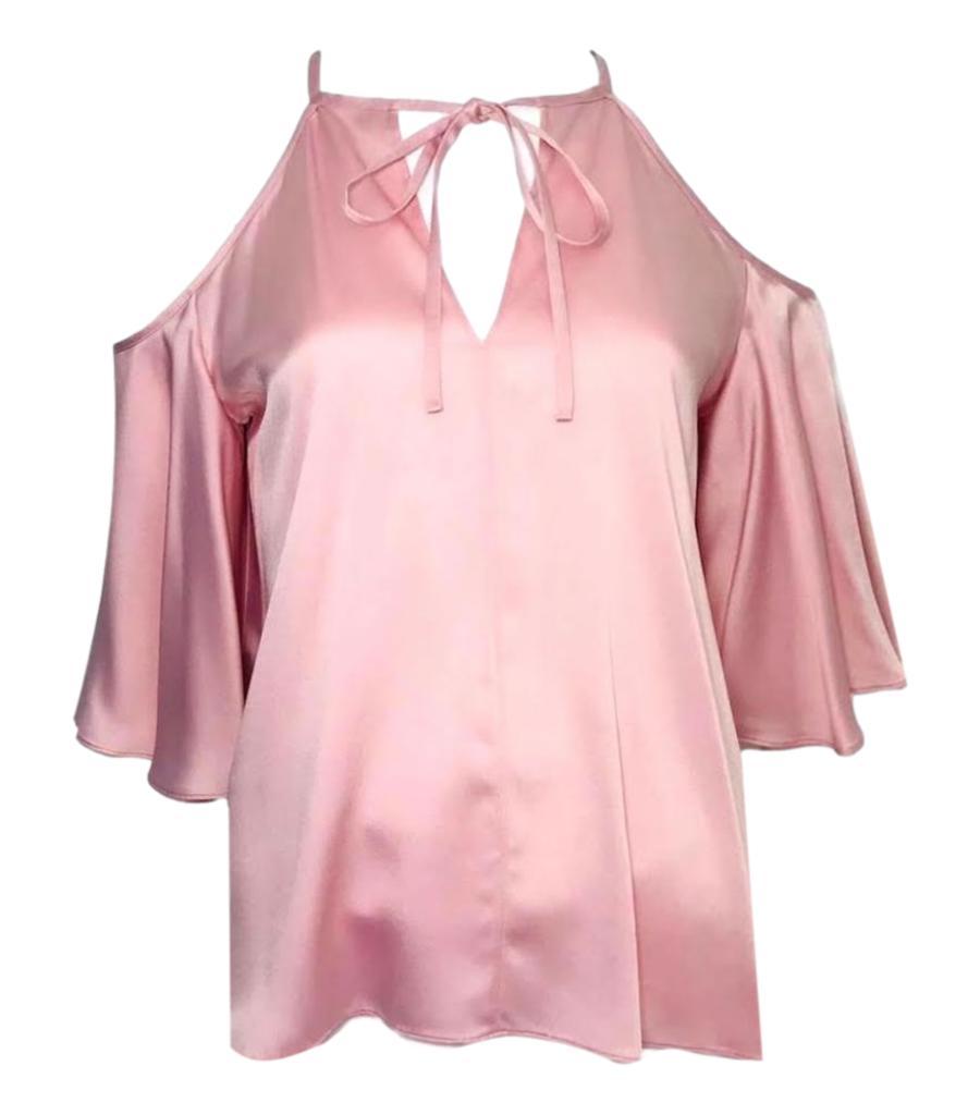 Temperley Pale Pink Satin Cold Shoulder Blouse