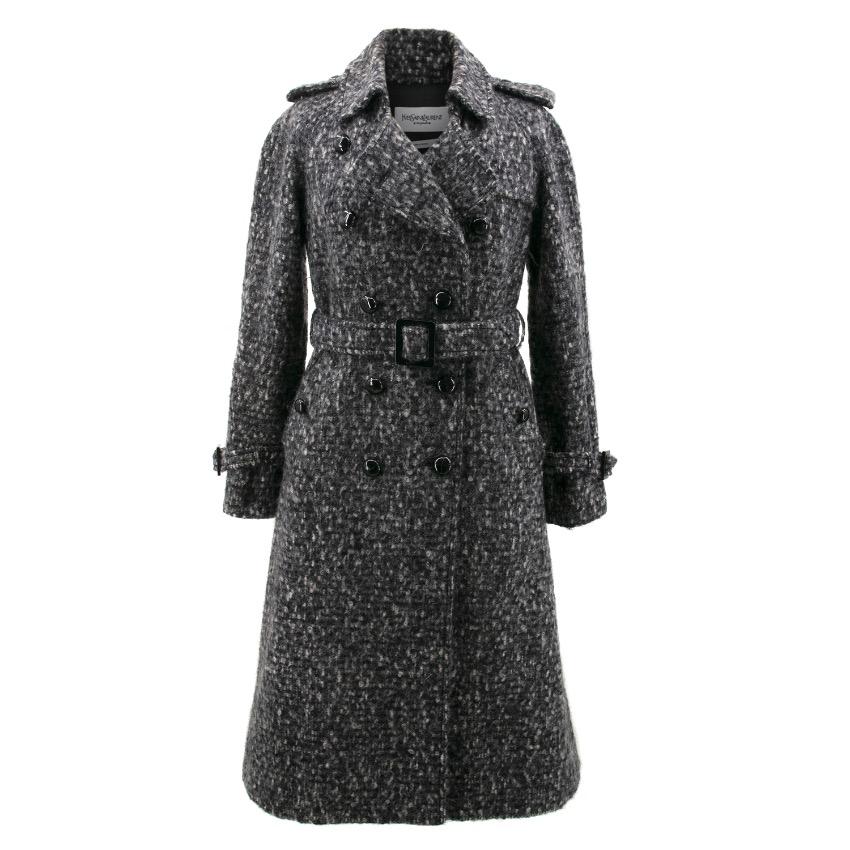 Yves Saint Laurent Mohair Wool Tweed Vintage Belted Coat
