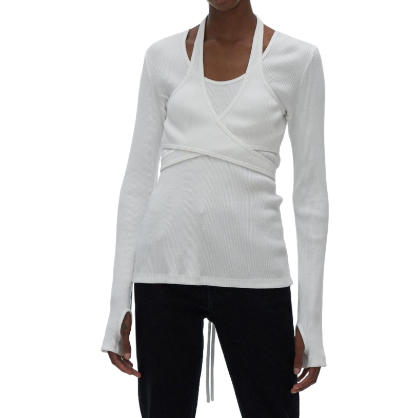 Helmut Lang White Ribbed Wrap Style Top