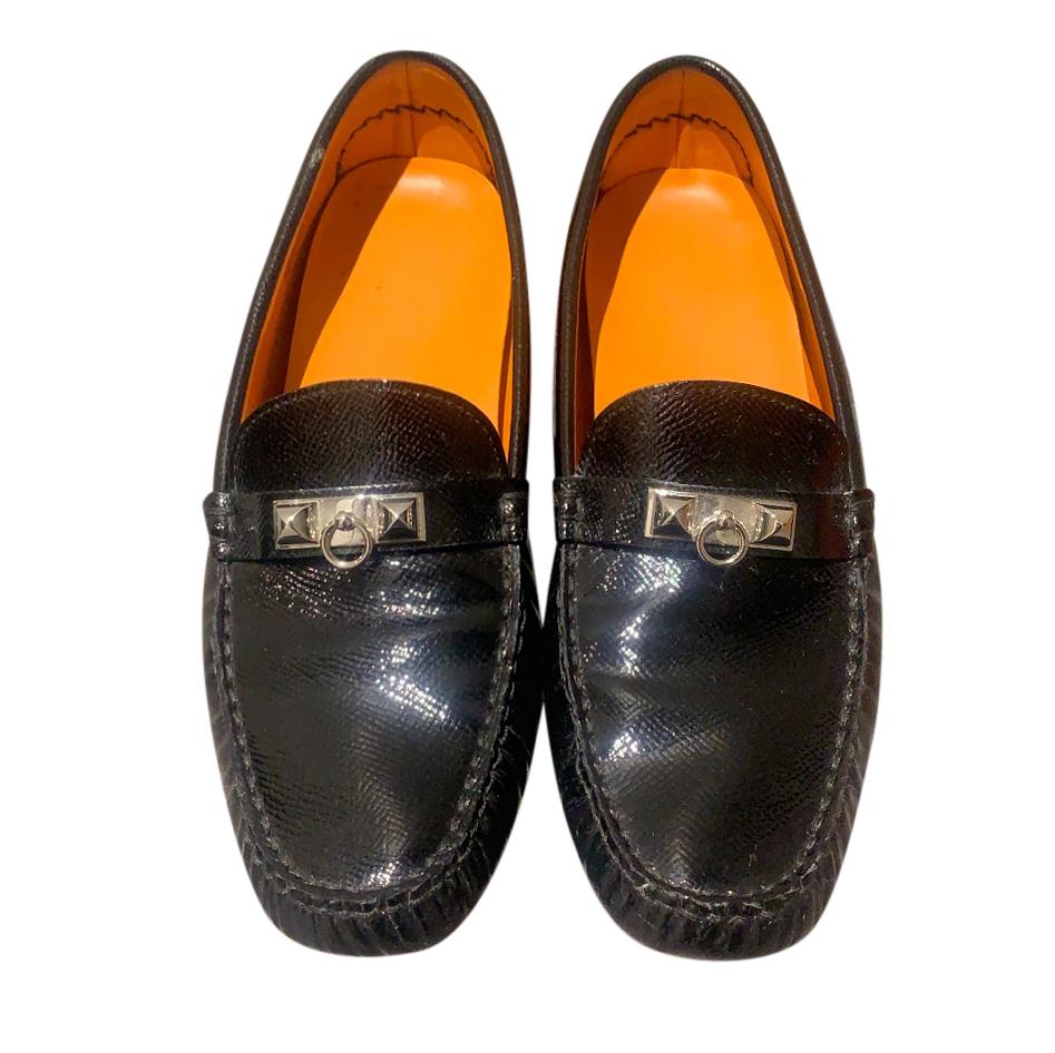 Hermes Collier De Chien Patent Driving Loafers
